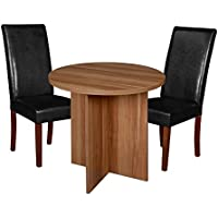 Niche Mod 30 Round Table & 2 Tyler Dining Chairs, Black/Warm Cherry