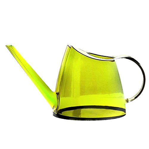 Benwu Leader Transparent plastic watering pot gardening tool long mouth watering pot for home office (lemon green) by Benwu Leader