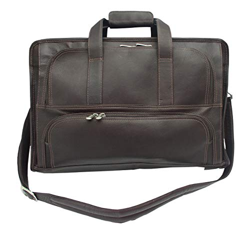 Piel Custom Personalized Leather Entrepeneur Half-Moon Portfolio, Briefcase in Chocolate