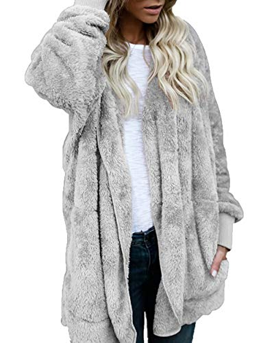 Women Casual Oversized Pockets Draped Open Front Hooded Jacket Cardigan Gray XL