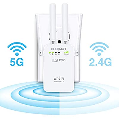 WiFi Range Extender, ELEGIANT AC1200Mbps Wireless WiFi Repeater Signal Amplifier Booster Supports Router/Repeater/Access Point High Gain 4 External Antennas 360 Degree WiFi Coverage (White)