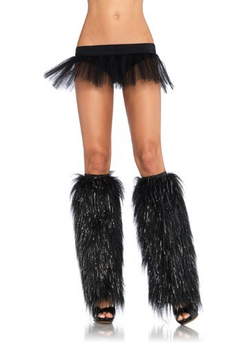 Leg Avenue Faux Fur Lorax Legwarmers for Women, Black/Silver, One Size (Sexy Female Cartoon Characters)