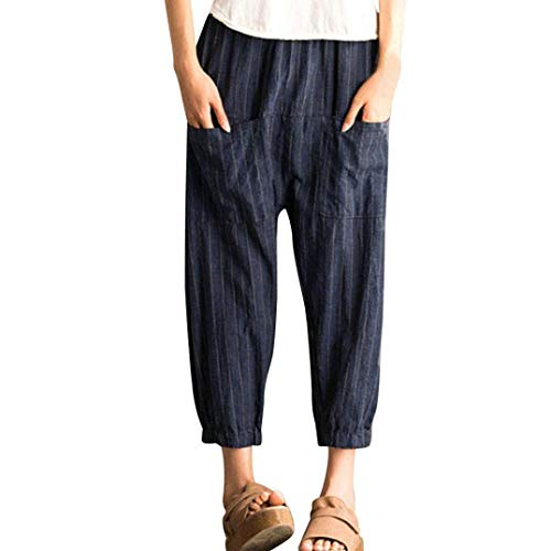 (Striped Harem Pants for Women Retro Elastic High Waist Trousers Casual Loose Navy)