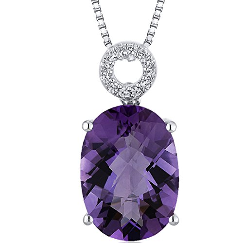 (Opulent 5.00 carats Oval Checkerboard Cut Sterling Silver Rhodium Finish Amethyst Pendant)