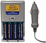 Digital Concepts CH-3930 2 Hour Battery Charger with Four 2500 mAh Batteries and Car Charger