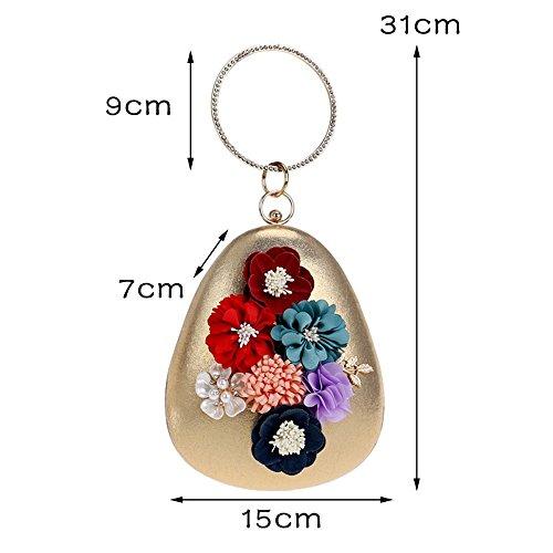 à Red Shell Chain sac Bag Petit Fashion Embrayage de Bohème Diamants TuTu Ronde Fleur de Femmes main Sacs Girl Style Soirée sac soirée BqnP5
