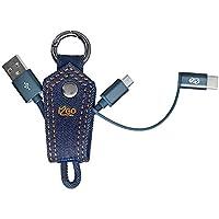 Chaveiro Cabo 2-em-1 Micro-USB + USB-C, i2GO, Jeans