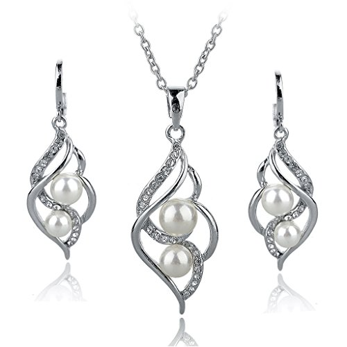 (Long Way Fashion Gold/Silver Plated Austrian Crystal Necklace Drop Earrings Set Imitated Pearl Jewelry Set Wedding Jewelry For Women)