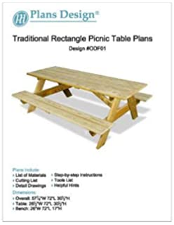 Traditional Rectangle Picnic /Garden Table Woodworking Plans, #ODF01