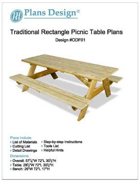 (Traditional Rectangle Picnic /Garden Table Woodworking Plans, #ODF01)