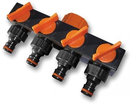 Bradas ECO-PWB3033 4-Fach Verteiler für Wasseranschluss Schwarz 10x5x5 cm