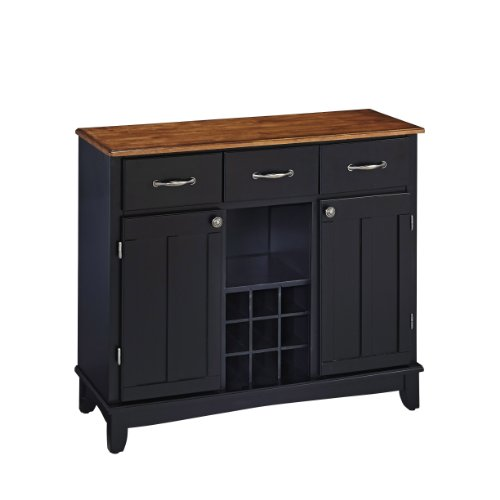 Buffet of Buffets Black with Cottage Wood Top by Home (Top Buffet Sideboard Server)