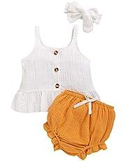 Camidy 3pcs Newborn Girls Clothes Suit Strappy Shirt Short Pants + Headband 0-18 Months