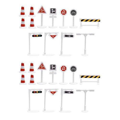 (BCP 26 Pieces 13 Style Street Signs Playset Traffic Signs Playset for Children Play)