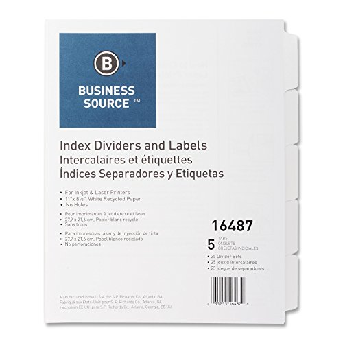 Business Source Customize LaUnpunched Index Dividers Setaser Index Labels with Out Holes (16487)