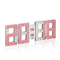 Ffzhushengmy Clock 3D Square Lattice Remote Control Personality Wall Clock Hollow Design Clock Living Room Calendar Digital LED Electronic Alarm Clock Home Decoration Wall Clock