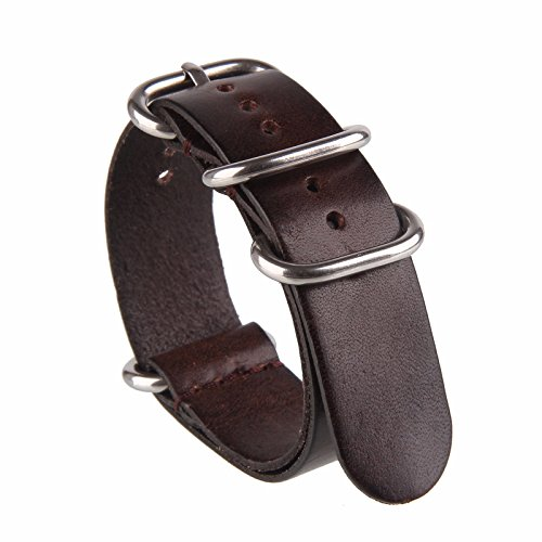 Beauty7 Brown 18mm Genuine Leather Zulu NATO Style Watch Str