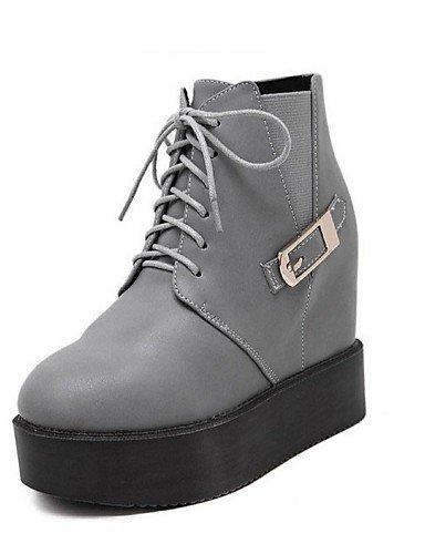 Gris Bottes Gray Arrondi Extérieure Plateforme Similicuir Noir Cn39 Uk6 Eu39 Xzz Bottine Bout Chaussures Femme Décontracté us8 wvUHqWqXf