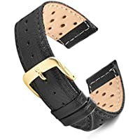 Speidel Genuine Leather Soft Calf Driving Watch Band 18mm in Black Glove Leather Replacement Strap, Stainless Steel Metal Buckle Clasp, Watchband Fits Most Watch Brands