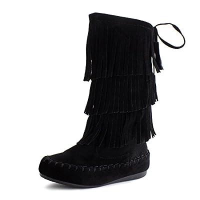 Link Candice-16Ka Girls Mid Calf 3 Layer Fringe Boots