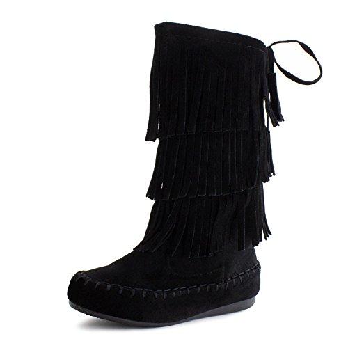 Link Candice-16Ka Girls Mid Calf 3 Layer Fringe Boots,3 M US Little Kid,Black