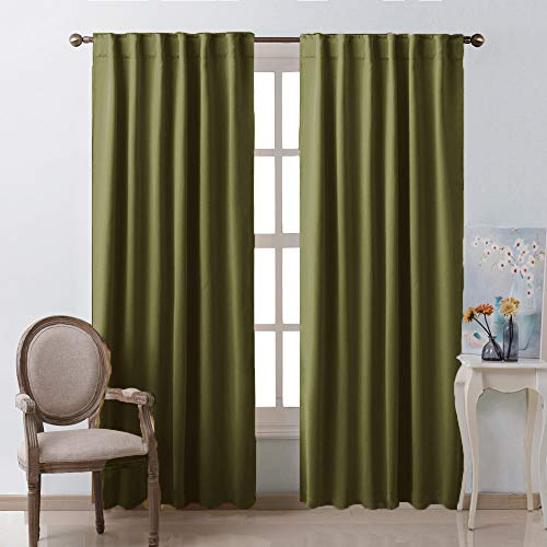 NICETOWN Living Room Blackout Draperies Curtains - (Olive Green Color) W52 x L84, 2 Pieces, Room Darkening Window Blackout Drape Panels ()