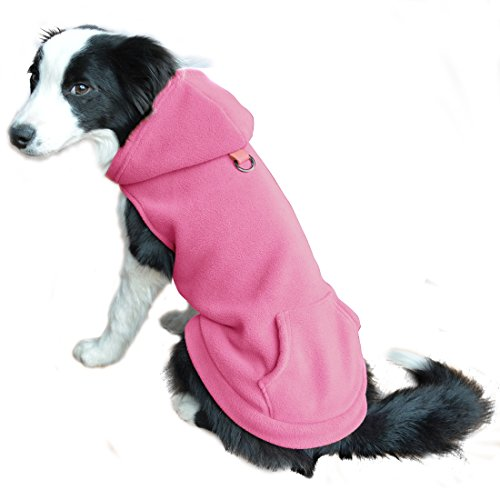 - EXPAWLORER Fleece Dog Hoodies with Pocket, Cold Weather Spring Vest Sweatshirt with O-Ring, Light Pink S