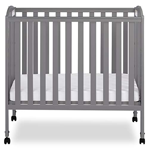 Dream On Me 3-in-1 Folding Portable Crib, Steel Grey
