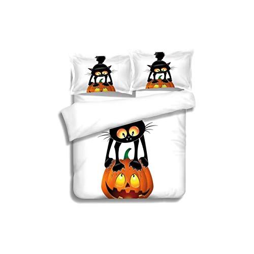 VROSELV-HOME European Style Print Bed Set,Halloween Decorations Black Cat on Pumpkin Spooky Cartoon Characters Halloween Humor Art Orange 100% Cotton Bedspread/Quilt Set,3 Pieces
