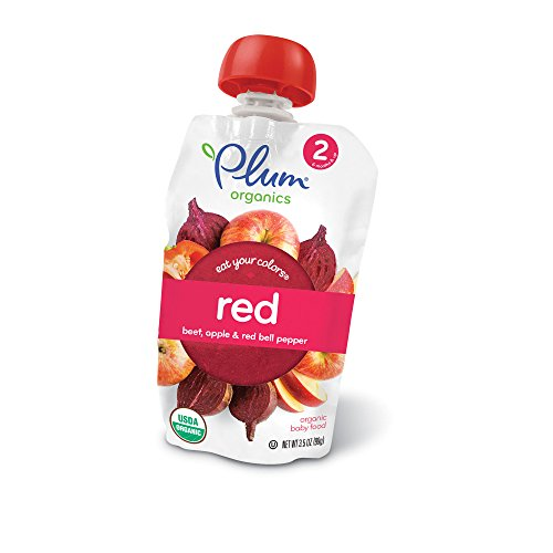 2 Eat Your Colors Red, Organic Baby Food, Beet, Apple & Red Bell Pepper, 3.5 oz (Pepper Fruit)