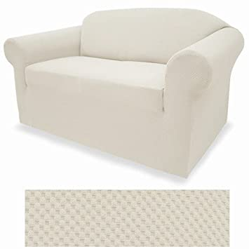 Pleasing 4 Way Stretchable Ivory Eggshell Form Fit Slipcover Set Stretch Sofa Cover And Loveseat Cover Included Dailytribune Chair Design For Home Dailytribuneorg