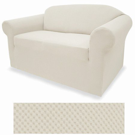 4-Way Stretchable IVORY (Eggshell) Form Fit Slipcover Set - Stretch Sofa cover and Loveseat Cover included