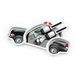 Urban Trend Funwares Police Car Dinner Set: Kids Dishwasher Safe Dining Plate and Utensils