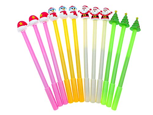 12pcs Christmas Gel Pen Black Ink Roller Marker Pen(Assorted Colors Christmas Theme Styling) -