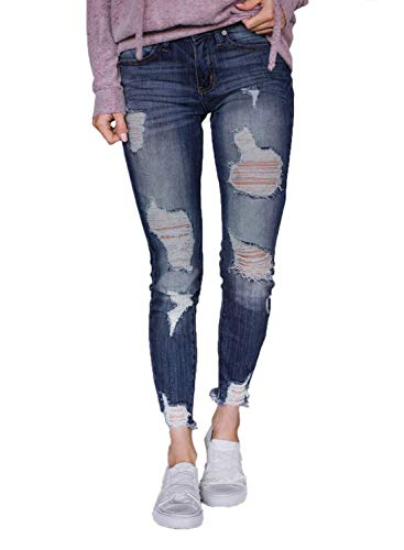 Sidefeel Women Wash Distressed Ankle Length Skinny Jeans Small Blue