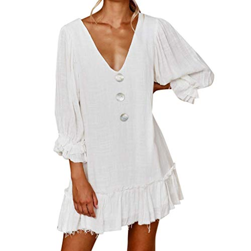 Women Deep V-Neck 3/4 Sleeve Sundress Button Solid Dress Hem Pleated Loose Dress Beach Mini Dress WhiteMedium