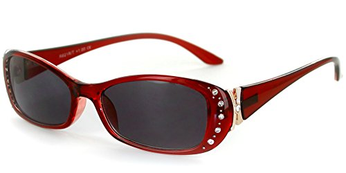 Solara Rx-Able Full Reading Sunglasses (No Bifocal) with Crystals for Women (Red w/Smoke +2.50)