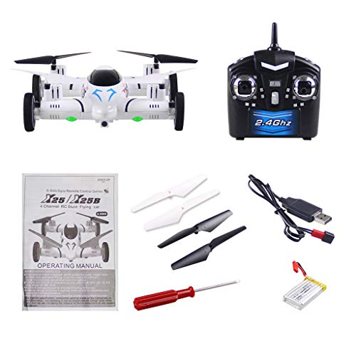 Fine 2 in1 Remote Control Flying car Drone Land and air Dual Model Hover Drone high Altitude 3D Rolling Eight-Channel Four-Rotor Helicopter (White)
