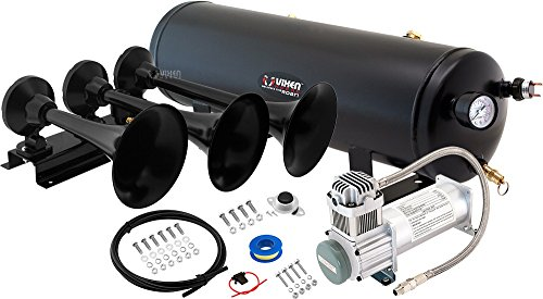 Vixen Horns Loud 152dB 3/Triple Black Trumpet Train Air Horn with 3 Gallon Tank and 200 PSI Compressor Full/Complete Onboard System/Kit VXO8330/3418B