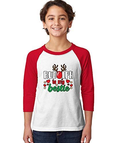 SpiritForged Apparel Rudolph is My Bestie Youth 3/4 Raglan Shirt, Red/White X-Large (Cookie Rudolph)
