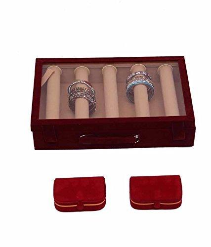 5 Rods Transparent Bangle Organizer Box & Ring & Earing Box In Velvet Coated Jewelry Storage (3 Pcs Set) Earing Bangle