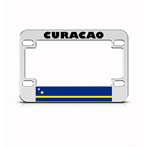 Cura?Ao Flag Metal Motorcycle Bike License Plate Frame Tag Holder