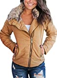 Dokotoo Womens Plus Size Fashion Classic Regular Faux Fur Collar Zip Up Quilted Puffer Jacket Coat Outerwear with Pockets Khaki XX-Large