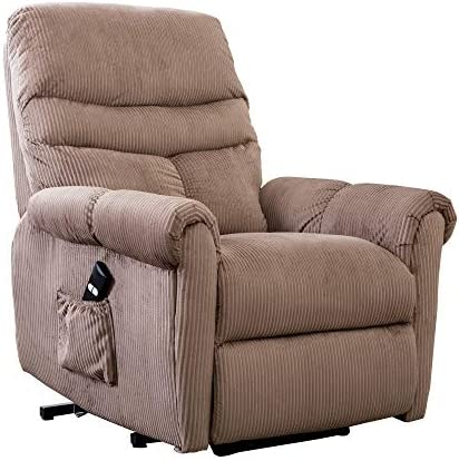 -XMGHTU-Power Lift Recliner Chair for Elderly- Heavy Duty and Safety Motion Reclining Mechanism-Antiskid Fabric Sofa Living Room Chair with Overstuffed Design, Camel