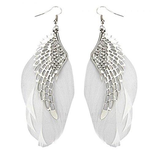 Damen Engel Flügel Feder Baumeln Ohrring Haken Kronleuchter Drop