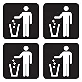 dealzEpic - Black Trash Can Sticker/Waste Garbage Bin Sign - Self Adhesive Peel and Stick Vinyl Decal - 3.94 x 3.94 inches | Pack of 4 Pcs