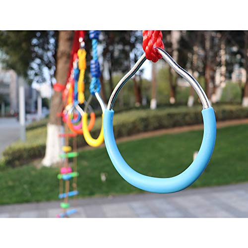 Rainbow Craft Swing Bar Rings-Colorful Outdoor Backyard Gymnastic Rings & Locking Carabiners - 7 pcs Pack by Rainbow Craft (Image #6)