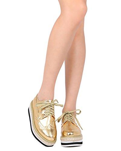 Indulge Mujer Espadrille Flatform Spectator - Creeper Oxford Shoe - Trendy Platform Spectator - Luann-10 De Gold Metallic