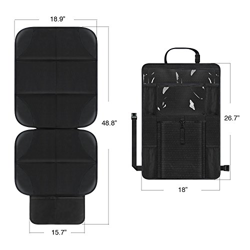 AOAFUN 1 Set Car Seat Protector&Kick Mat Auto Seat Back Protector,Extra Large Storage Pocket,Prevents Dirt and Damage-Allows Easy Access to Baby Items! (Black) by AOAFUN (Image #1)