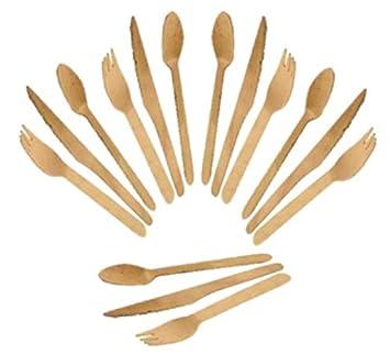 Cubiertos de madera (60 uds) 20 Tenedores, 20 Cuchillos, 20 Cucharas: Amazon.es: Hogar